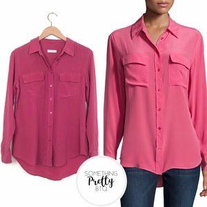 EQUIPMENT Slim Signature Silk Blouse Carmine Pink